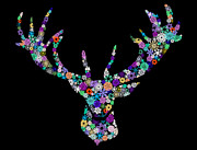 Colorful Animal Art Prints - Reindeer Design By Snowflakes Print by Setsiri Silapasuwanchai
