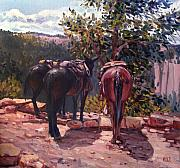 Mules Art - Resting on the Kaibab Trail by Donald Maier