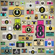 Flash Prints - Retro Camera Pattern Print by Setsiri Silapasuwanchai