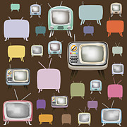 Vintage Music Player Prints - retro TV pattern  Print by Setsiri Silapasuwanchai