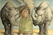 Rhinocerus Art - 2 Rhinos and a Smoking Camel - Cartoon by Peter Art Prints Posters Gallery