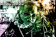 Rapper Mixed Media Framed Prints - Rick Ross Framed Print by The DigArtisT