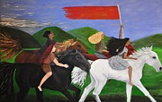 Horse Riders Painting Originals - Ride the Wind by Jan Nosakowski