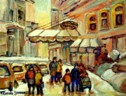 Kids Playing Hockey Paintings - Ritz Carlton Montreal Streetscene by Carole Spandau
