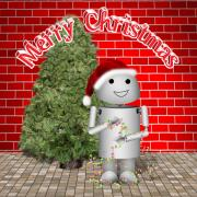 Claus Mixed Media Posters - Robo-x9 Wishes a Merry Christmas Poster by Gravityx Designs