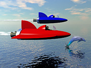 Dolphins Digital Art - 2 Rocket Ships and A Dolphin by Walter Neal