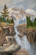 Alanna Hug-mcannally Metal Prints - Rocky Mountain Waterfall Metal Print by Alanna Hug-McAnnally