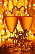 Sparkling Wine Framed Prints - Romantic holiday celebration Framed Print by Anna Omelchenko