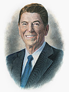 President Reagan Framed Prints - Ronald Reagan (1911-2004) Framed Print by Granger