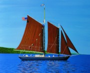 Great Lakes Ship Paintings - Roseway on Lake Superior by Dan Shefchik