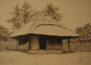 Autumn Landscape Drawings - Rumsiskes Village by Dagmara Czarnota