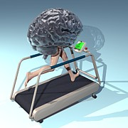 Treadmill Prints - Running Brain, Conceptual Artwork Print by Laguna Design