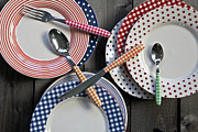 Wooden Table Prints - Rural Plates Print by Joana Kruse