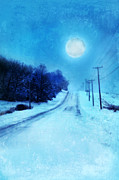 Moonlit Night Framed Prints - Rural Road in Winter Framed Print by Jill Battaglia