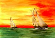 Boat Drawings Prints - 2 Sailboats Print by Michael Vigliotti