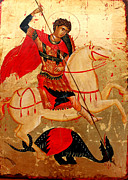 Egg Tempera Prints - Saint George Print by Artur Sula