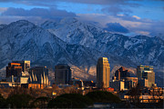 Snowy Evening Posters - Salt Lake City Utah USA Poster by Utah Images
