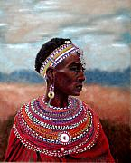 Family Pastels Posters - Samburu Woman Poster by Carol McCarty
