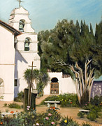 San Juan Paintings - San Juan Bautista Mission by Lorna Saiki