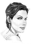 Pencil Portrait Drawings - Sandra Bullock by Murphy Elliott