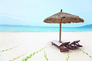Chaise Photos - Sandy tropical beach by MotHaiBaPhoto Prints