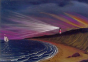 Sailboat Ocean Pastels - Sankaty Head Lighthouse Nantucket by Charles Harden