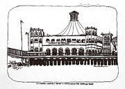 Monica Drawings Framed Prints - Santa Monica Pier Merry-Go-Round Framed Print by Robert Birkenes