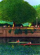 Burrard Inlet Posters - Scullers at Coal Harbour Poster by Neil Woodward