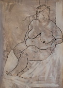 Voluptuous Drawings Prints - Seated female nude Print by Joanne Claxton