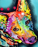 Dog Pop Art Framed Prints - Shep Framed Print by Dean Russo