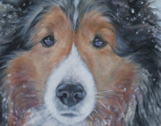 Christmas Dog Posters - Shetland Sheepdog Poster by Lee Ann Shepard