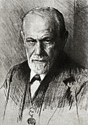 Freud Photo Framed Prints - Sigmund Freud, Austrian Psychologist Framed Print by Humanities & Social Sciences Librarynew York Public Library