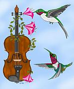 Violin Digital Art - Singing the Song of Life by Anne Norskog