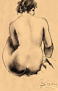 Clip Drawings Prints - Sitting woman charcoal drawing Print by Odon Czintos