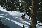 Snow Scenes Framed Prints - Skier Phil Atkinson Skiing Backcountry Framed Print by Tim Laman