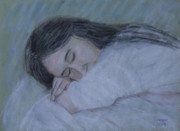 Face Pastels Prints - Sleep Print by Masami Iida