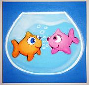 Fish Underwater Pastels - 2 sMALL FiSH iN LuV  by Mara Morea
