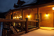 Wooden Stairs Posters - Snow Covered Countryside Hotel at Night Poster by Will and Deni McIntyre