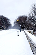 Snowstorm Art - Snowfall at Riverside Park New York by Rosemary Hawkins
