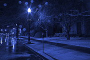 Lamp Post Framed Prints - Snowy Sidewalk Street Lamp Blues Framed Print by John Stephens