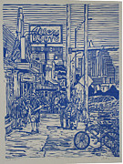 Lino Drawings Posters - South Congress Poster by William Cauthern