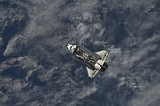Space Travel Art - Space Shuttle Atlantis Backdropped by Stocktrek Images
