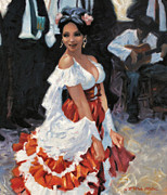 Dancer Paintings - Spanish Dancer by Kevin Lawrence Leveque