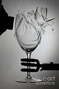 Resonator Metal Prints - Speaker Breaking A Glass With Sound Metal Print by Ted Kinsman