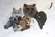 Mountain Goat Painting Prints - Spirit Totems Print by Judy M Watts - Rohanna