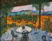 Patio Table And Chairs Posters - Spot to Wine and Dine Poster by Emily Michaud