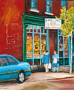 Montreal Landmarks Paintings - St. Viateur Bagel Shop by Carole Spandau