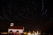 Ursa Minor Posters - Star trails behind Vodice chapel Poster by Ian Middleton