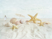 Sunshine Posters - Starfish and seashells  at the beach Poster by Sandra Cunningham