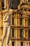 European Artwork Posters - Statue below Musee du Louvre Poster by Brian Jannsen